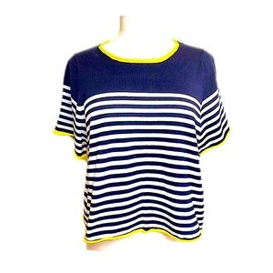 Zara Knit Short Sleeve Cropped Rolled Hem Sweater